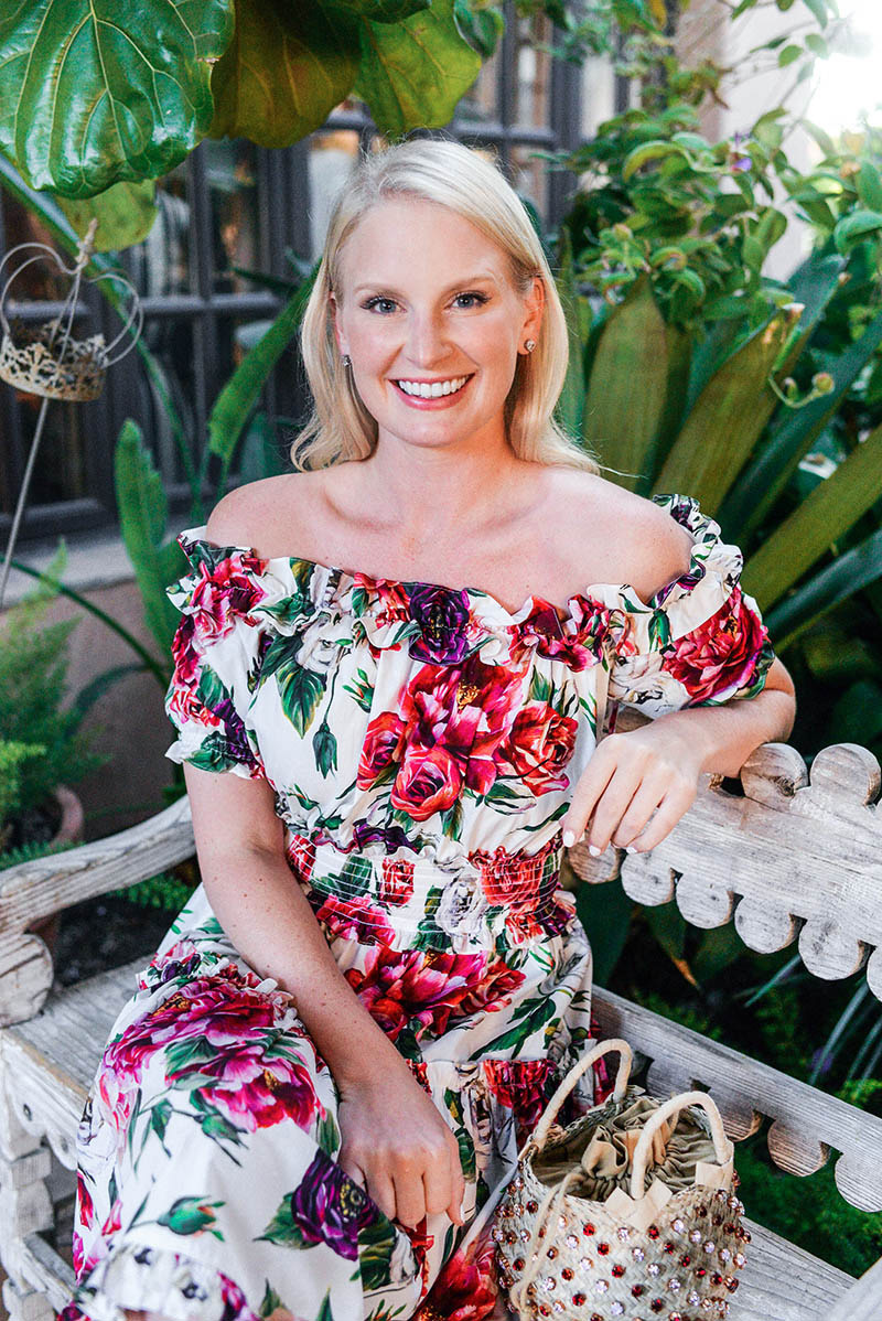 Merritt Beck in a Dolce & Gabbana Rose Print Dress | Dallas Fashion Blogger