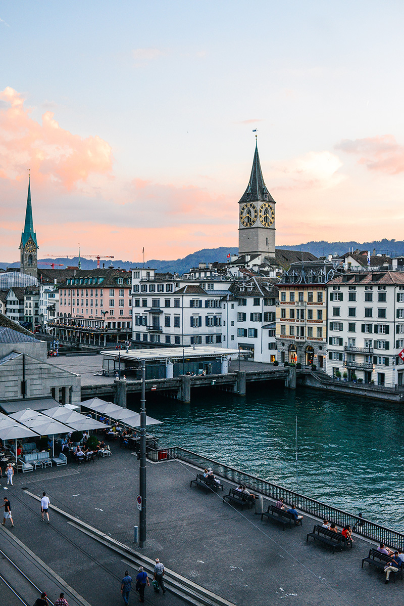 Zurich, Switzerland at Sunset