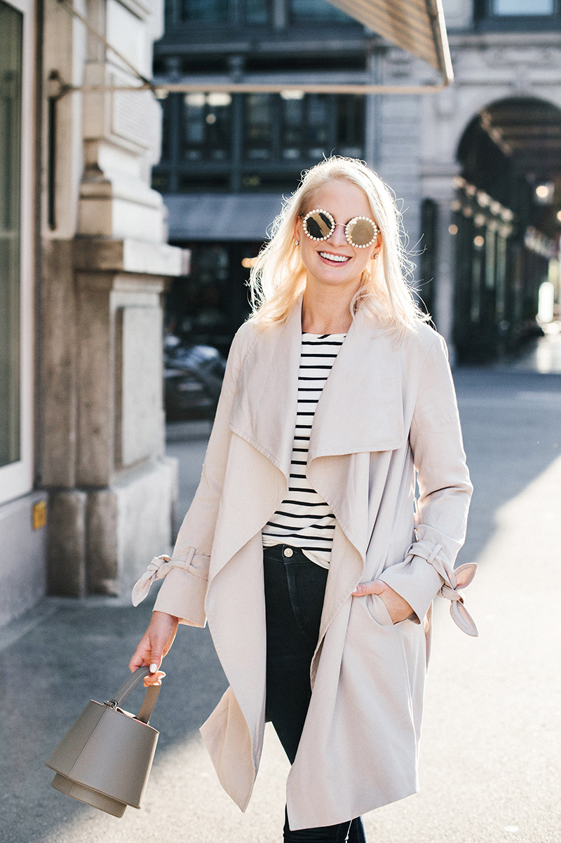 Striped Tee, Neutral Trench and Sneakers | Merritt Beck, The Style Scribe