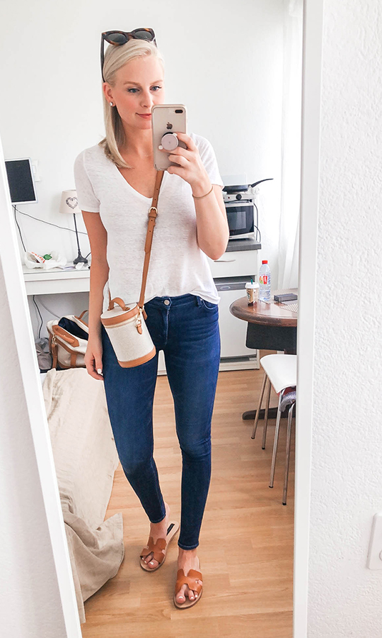 White tee, jeans and neutral accessories
