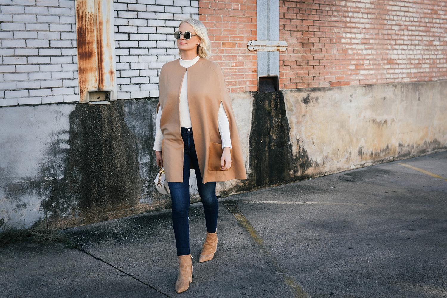Camel Cape and Suede Pointed Toe Booties