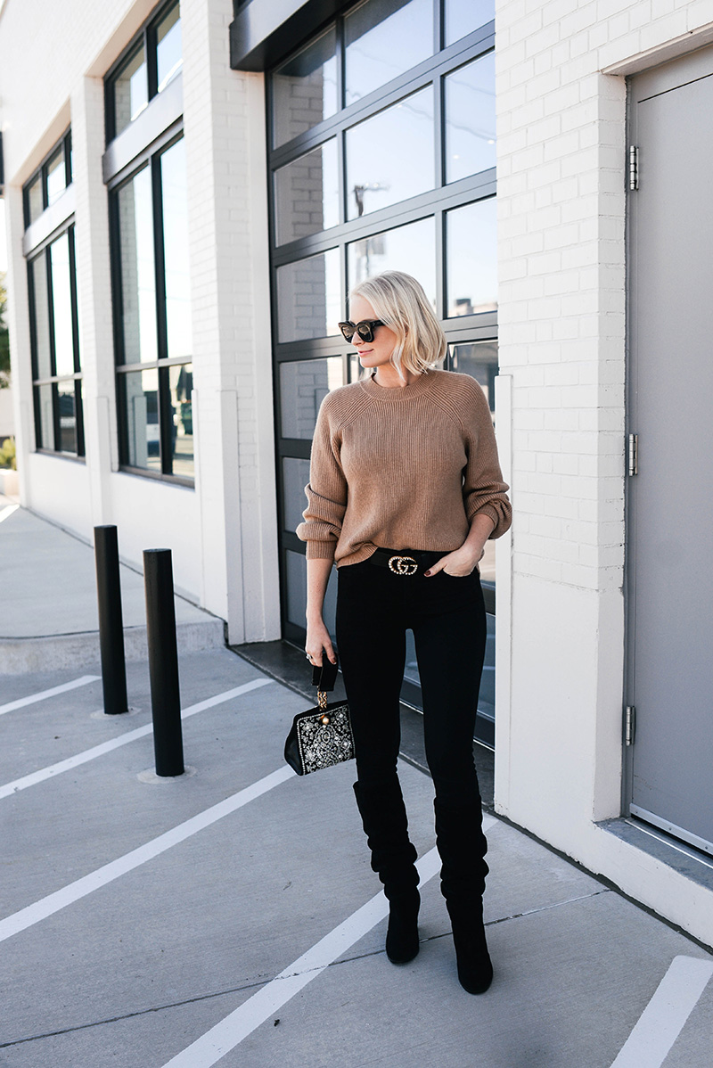 Chic Fall Outfit Idea | Camel Sweater, Black Jeans and Slouchy Boots