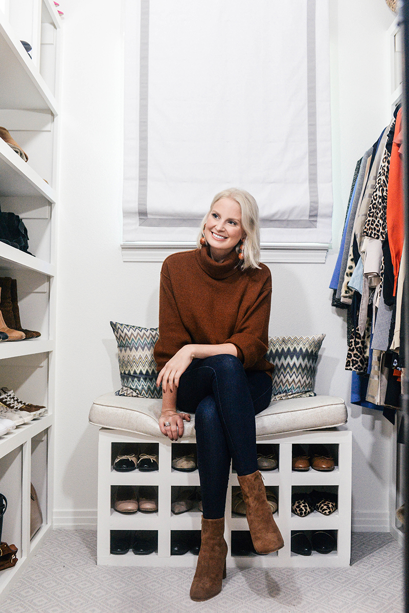 Brown Turtleneck, Dark Wash Jeans and Brown Suede Boots | The Style Scribe