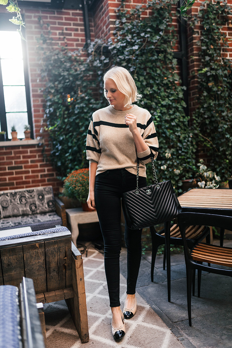 Velvet Chanel Flats | Neutral Striped Sweater