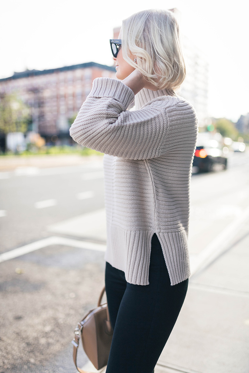 Topshop Ribbed Oversized Turtleneck | New York City Street Style