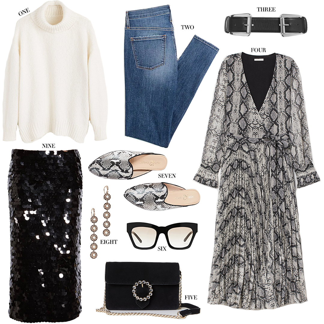UNDER $100 | SNAKESKIN PLEATED DRESS + PALETTE SEQUIN SKIRT