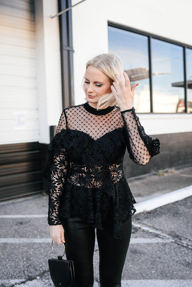 New Year's Eve Outfit Ideas | Pretty Statement Top and Leather Pants