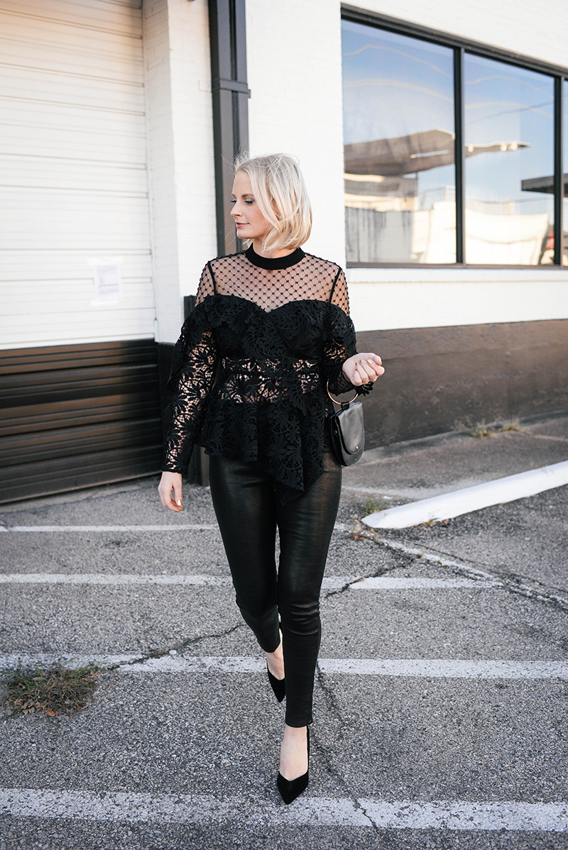 New Year's Eve Outfit Ideas   Pretty Statement Top and Leather Pants