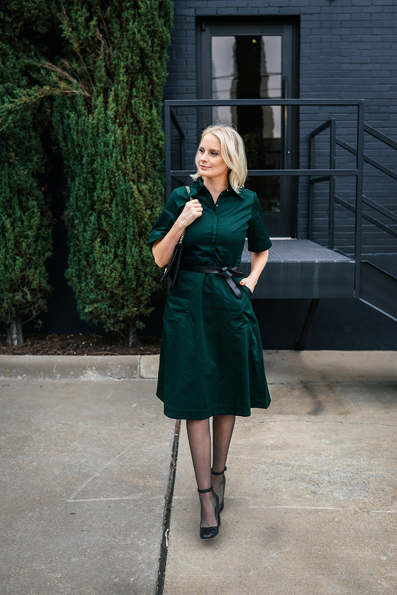 Holiday Church Outfit Ideas | Forest Green Shirtdress