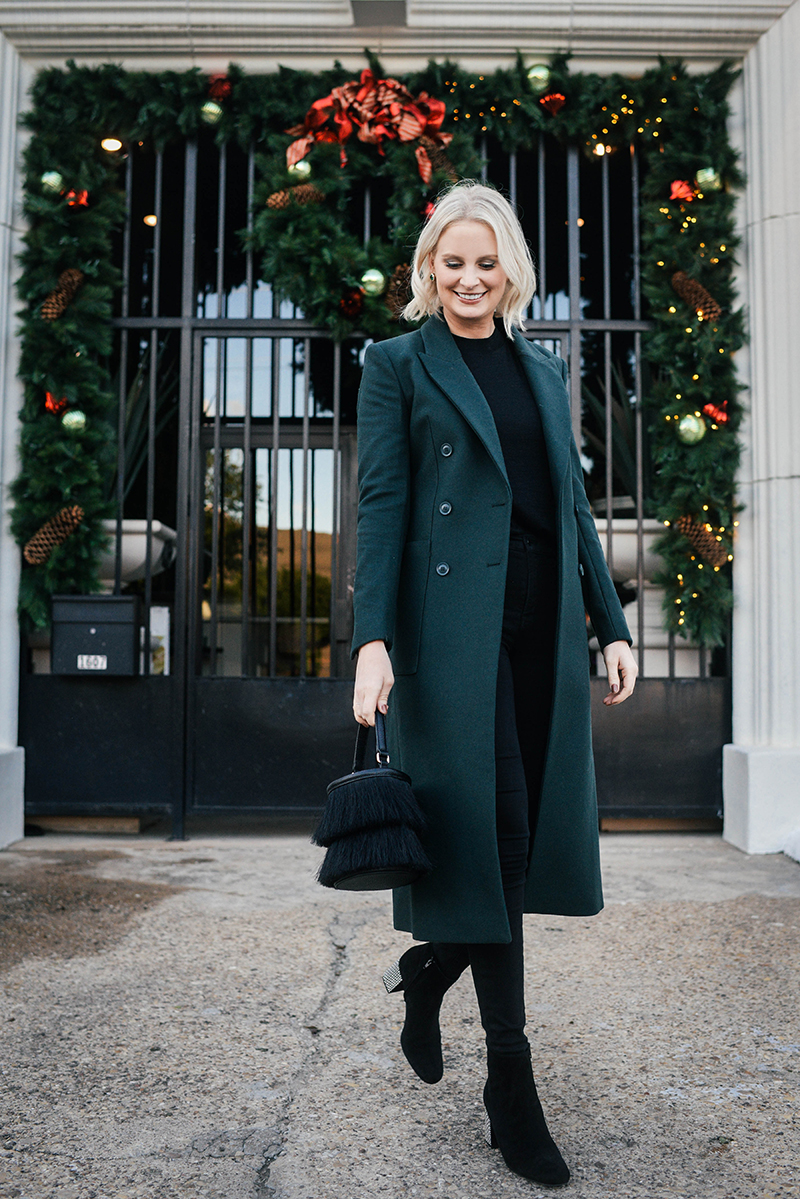 Holiday Party Outfit Guide | A Sleek Green Coat