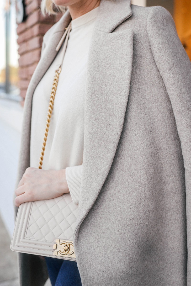 4b08c6b4e1a2b7 Theory Beige Coat + Nude Chanel Boy Bag | The Style Scribe