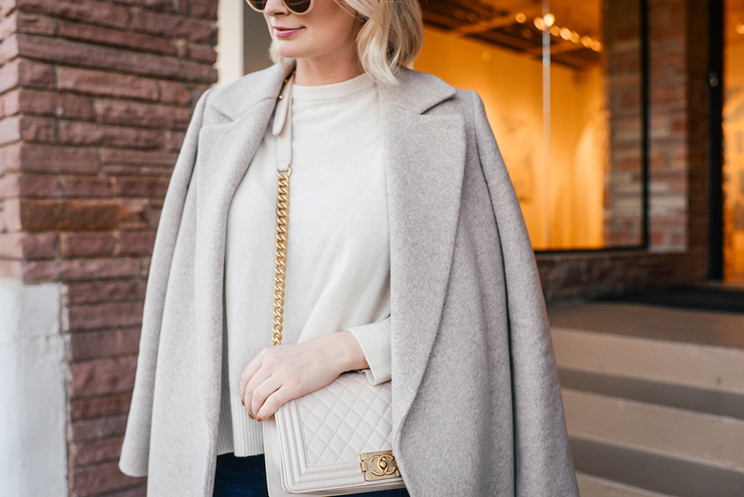 Theory Beige Coat + Nude Chanel Boy Bag