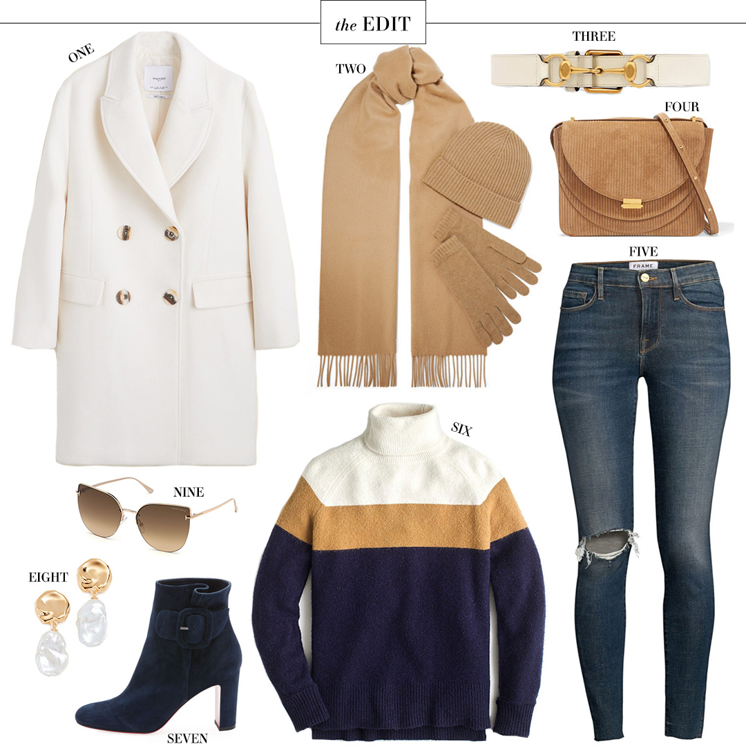 The Edit | Winter White Coat + Camel Accessories