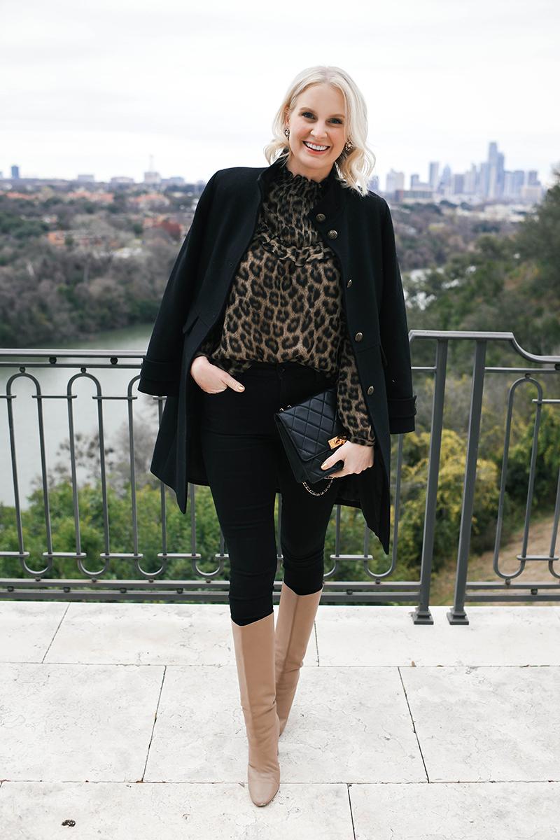 BA&SH Leopard Ruffle Blouse