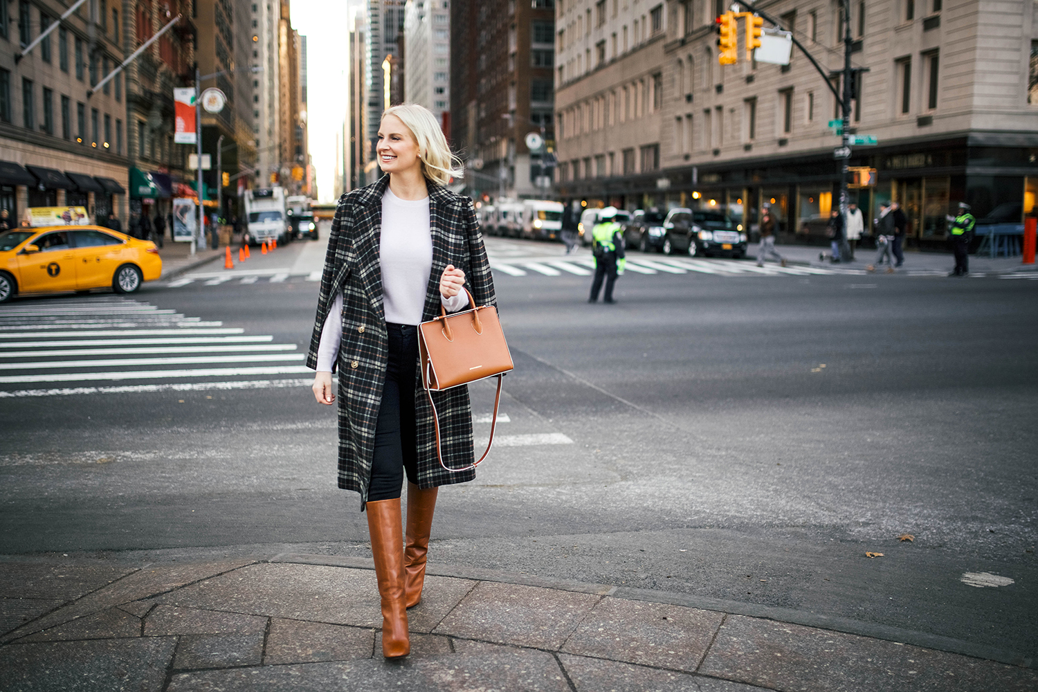 Aquazzura Leather Boots + Strathberry Midi Tote on Merritt Beck, The Style Scribe