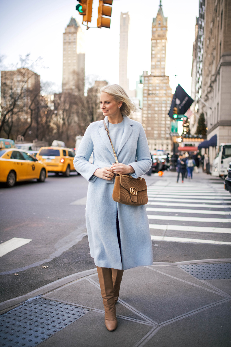 Merritt Beck in a Pale Blue Vince Faux Fur Coat
