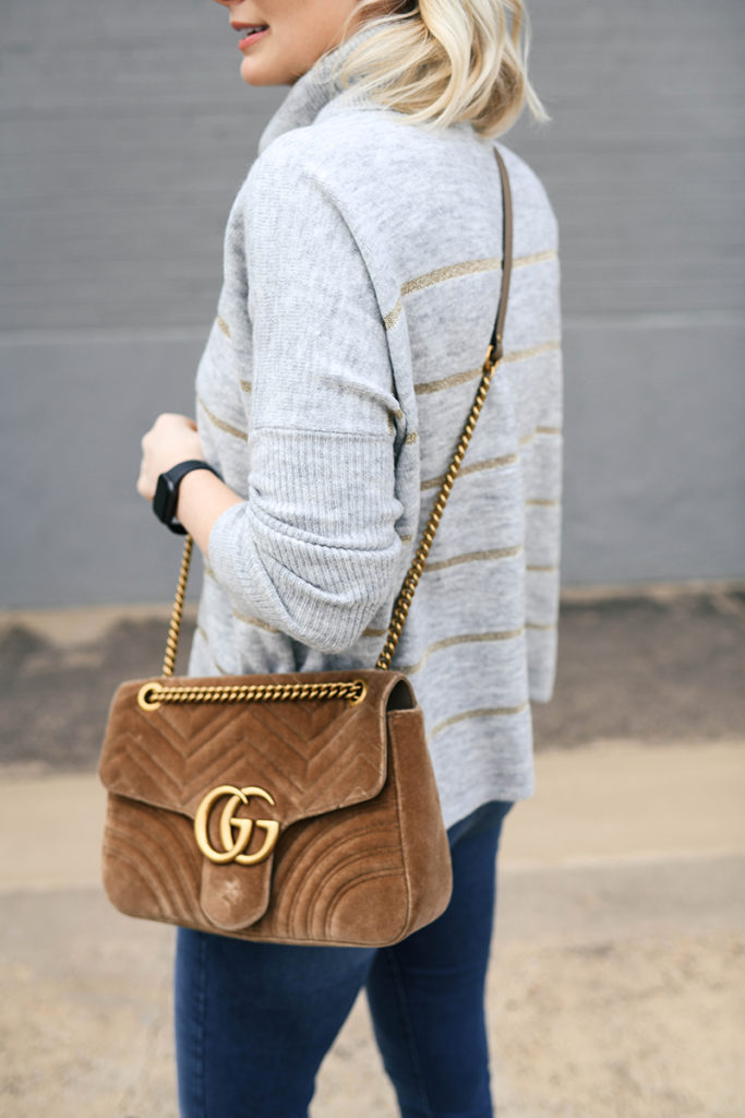 Cupcakes and Cashmere Gold Stripe Turtleneck Sweater