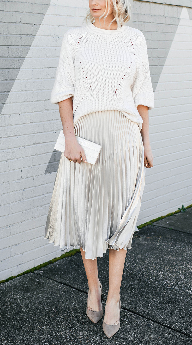 Winter White Look   How to Style A Pleated Skirt