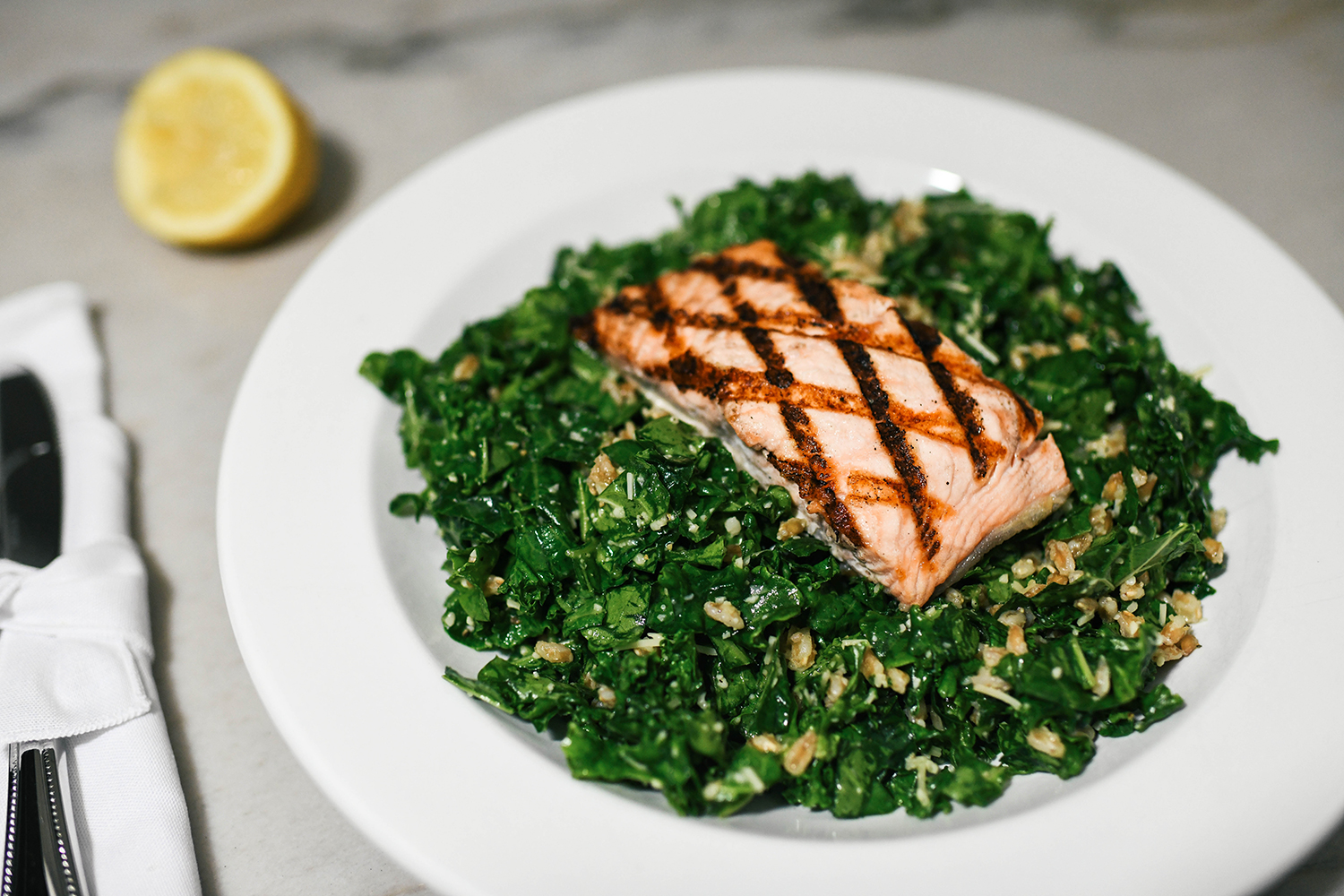 Grilled Salmon over Kale Salad with Farro