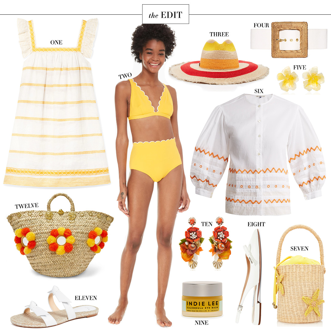 "THE EDIT | KATE SPADE YELLOW ""LIMONE"" SCALLOPED BIKINI"