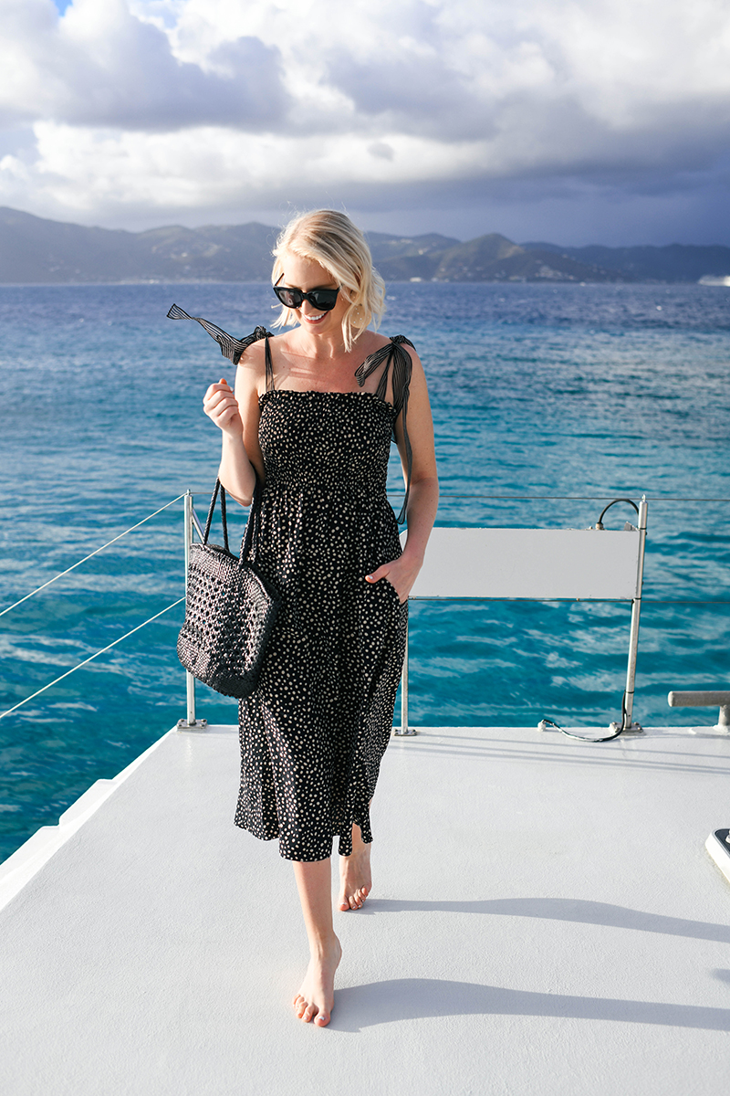 LA LIGNE LOU SMOCKED MIDI DRESS | BRITISH VIRGIN ISLANDS TRAVEL STYLE