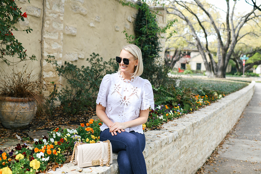 REBECCA TAYLOR EMBROIDERED LACE BLOUSE   MERRITT BECK