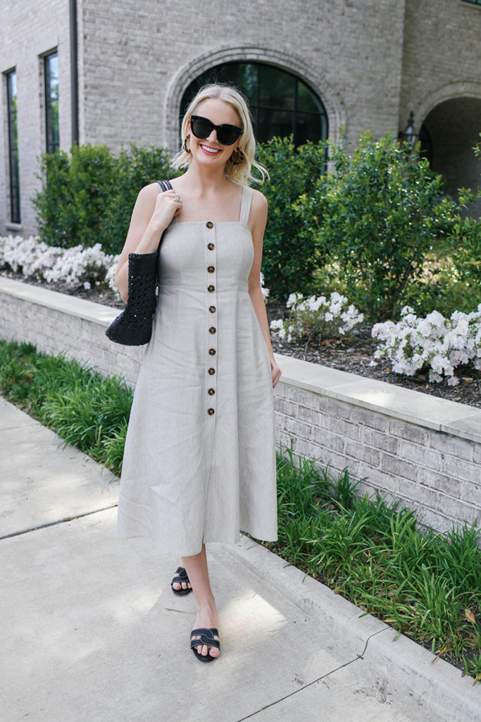 Club Monaco Linen Midi Dress, Kaanas Infinity Sandals and Dragon Diffusion Woven Leather Tote
