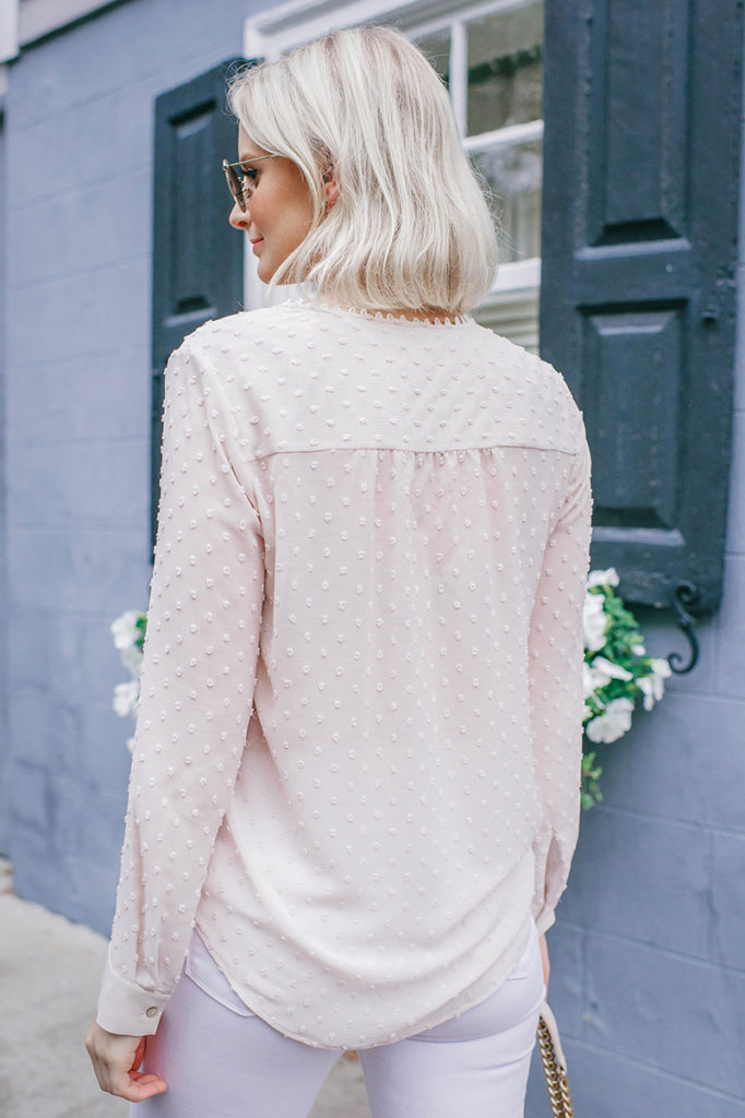 L'Agence Faux Wrap Blouse + White Jeans | Merritt Beck, The Style Scribe