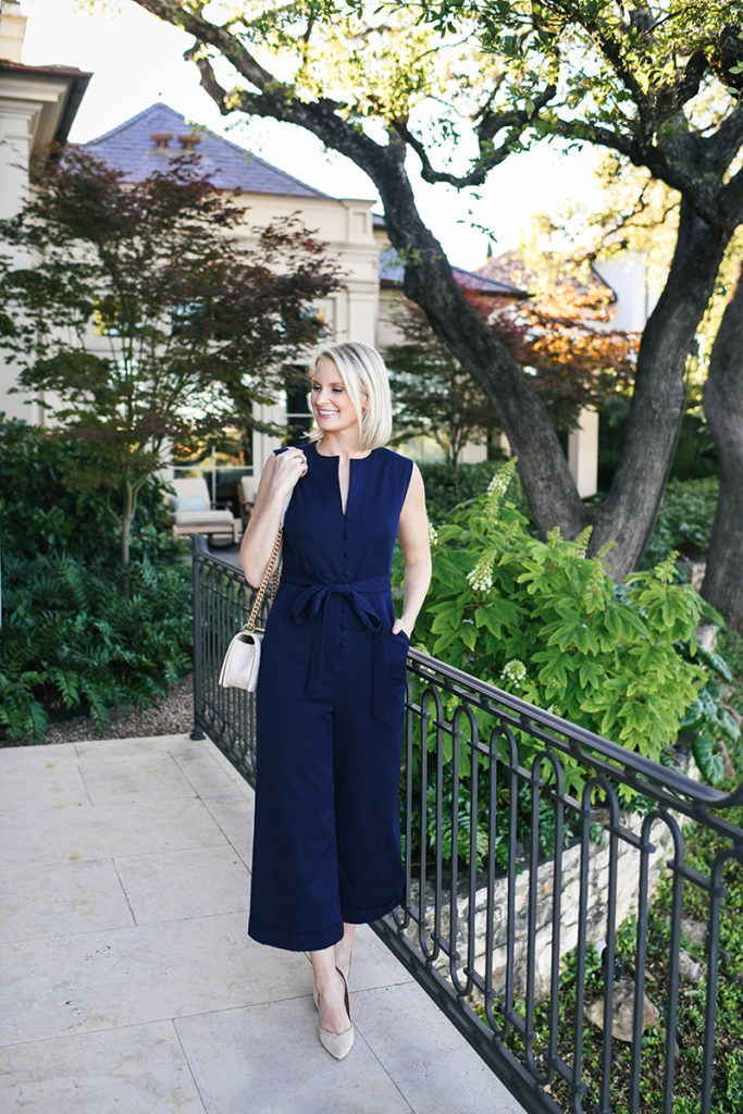 PEARL BY LELA ROSE NAVY WIDE LEG JUMPSUIT