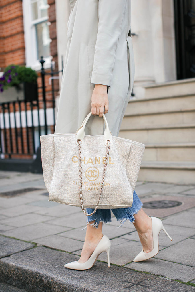 chanel cream gold tweed tote