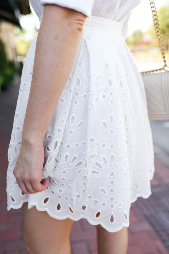 White Eyelet Mini Skirt | Summer Outfit Ideas