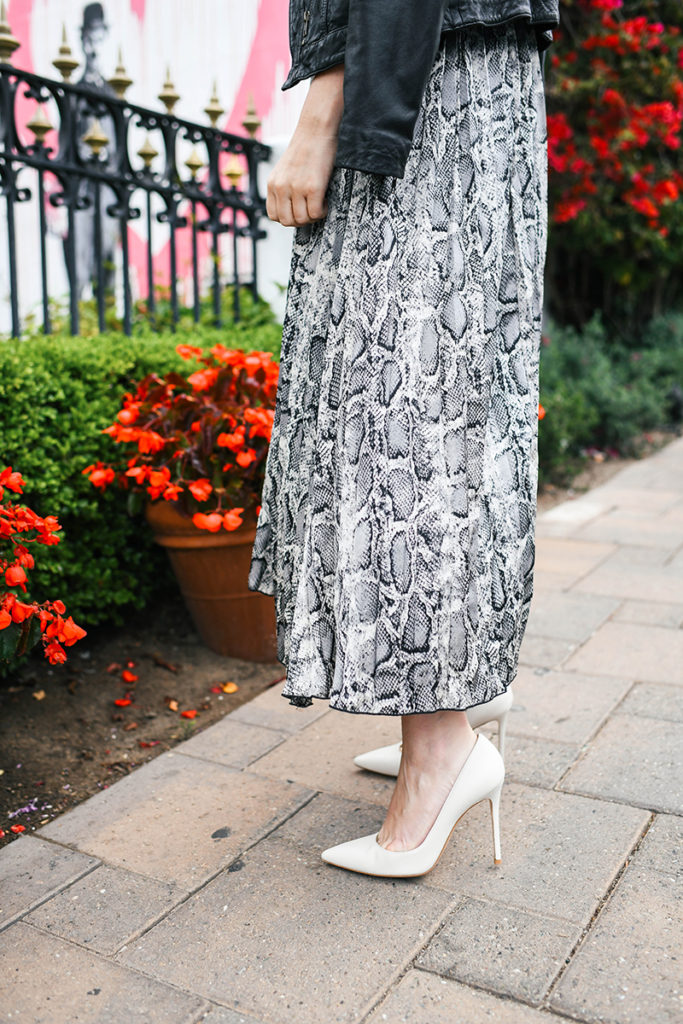 BISHOP AND YOUNG SNAKESKIN PRINT MIDI DRESS
