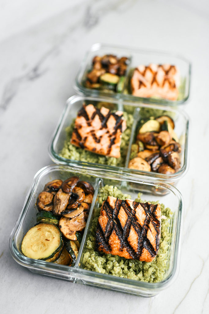 Portion Control Container Meals // Salmon, Cauliflower Pesto Rice, sauteed Zucchini and Mushrooms
