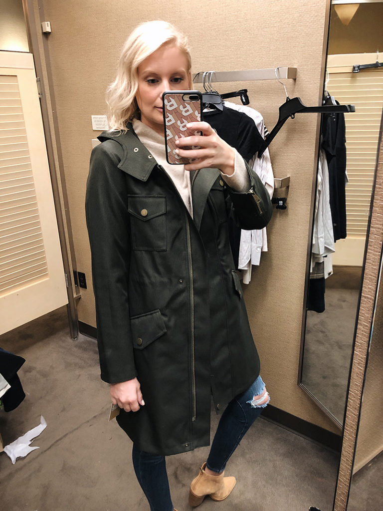 Halogen Green Hooded Jacket and Vince Suede Ankle Boots | Nordstrom Anniversary Sale