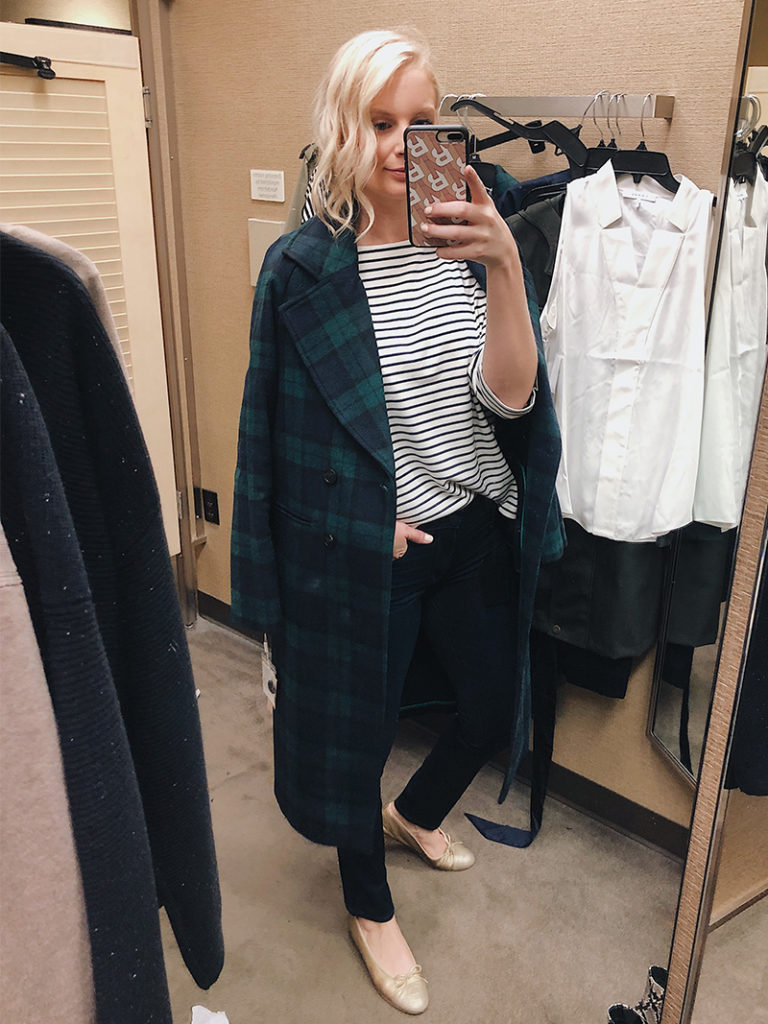 Tartan Coat and J.Crew Striped Boatneck Tee | Nordstrom Anniversary Sale