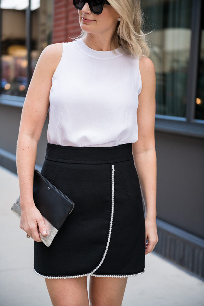 The Style Scribe, Dallas Fashion Blog | Pearl Trim Miniskirt