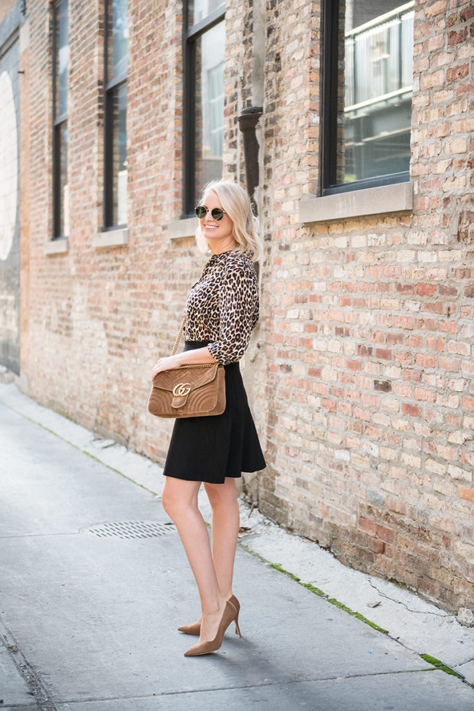 Equipment Leopard Blouse + Stuart Weitzman Anny Pumps from MyTheresa