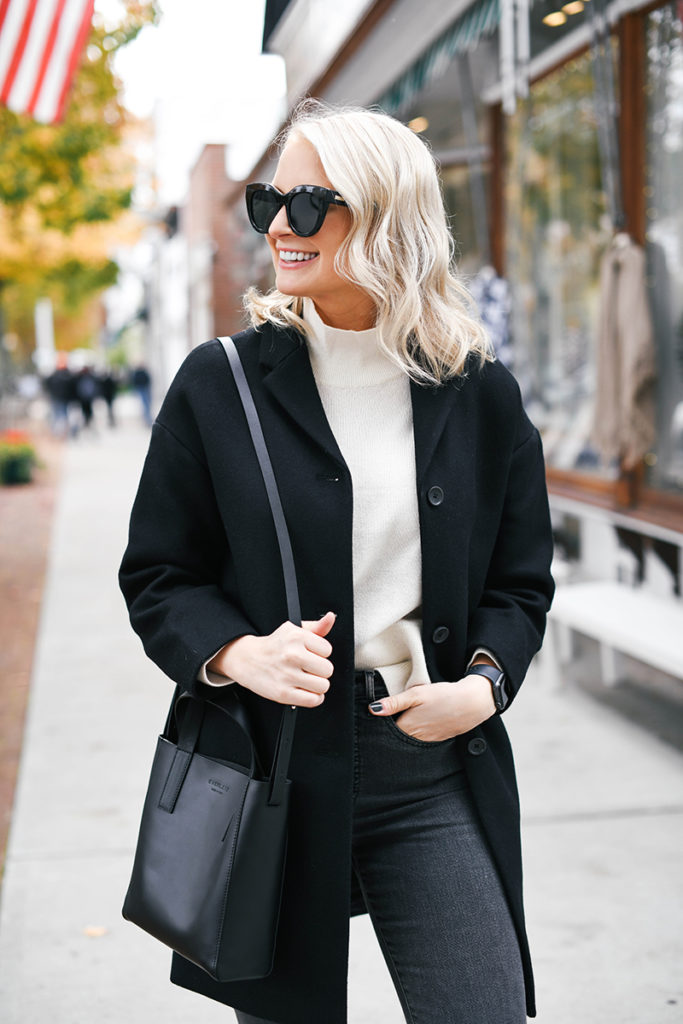 Everlane Cocoon Coat + Cashmere Turtleneck Sweater