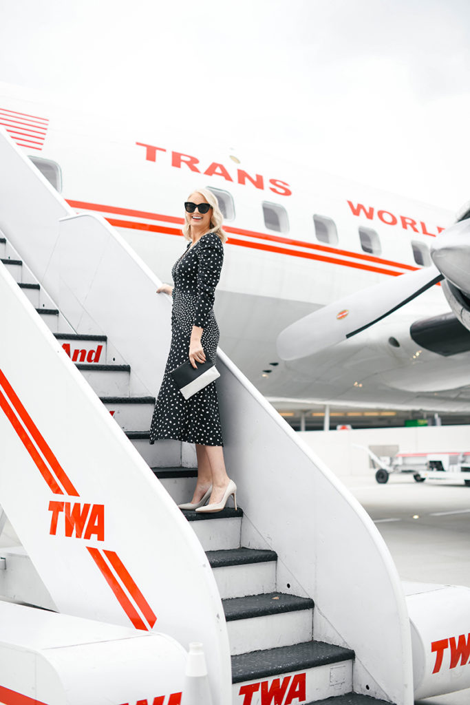 Up, Up and Away with TWA // Rebecca Taylor Nova Dot Jacquard Dress