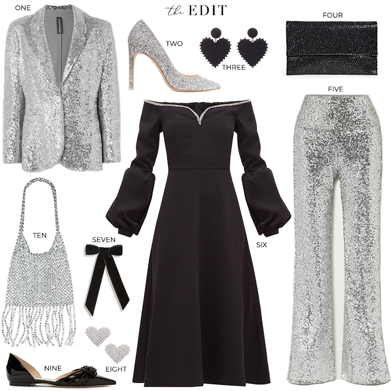 THE EDIT // NORMA KAMALI SEQUIN WIDE LEG PANTS & BLAZER