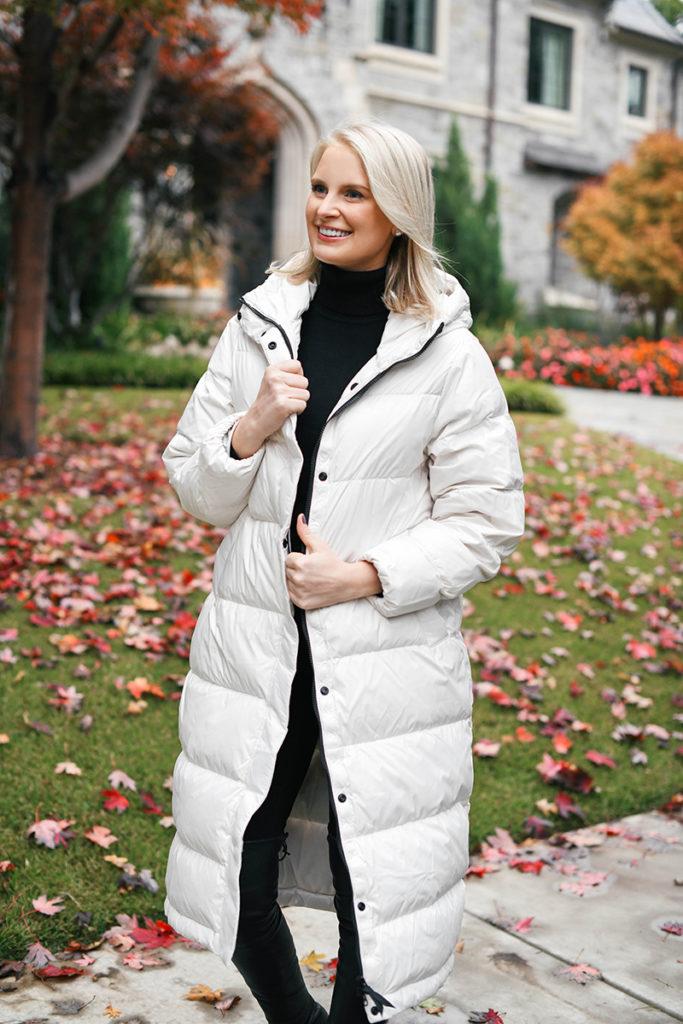 Everlane Winter Favorites: ReDown Sleeping Bag Puffer Coat in Bone