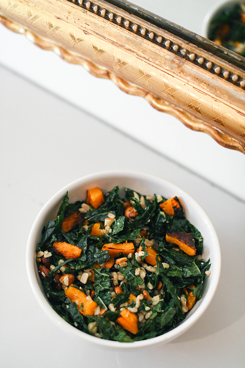 Northern Spy Kale Salad - featuring roasted butternut squash, aged cheddar, roasted almonds and more!