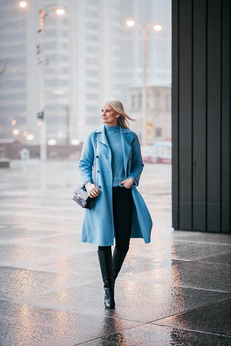 Zara Pale Blue Coat | The Style Scribe