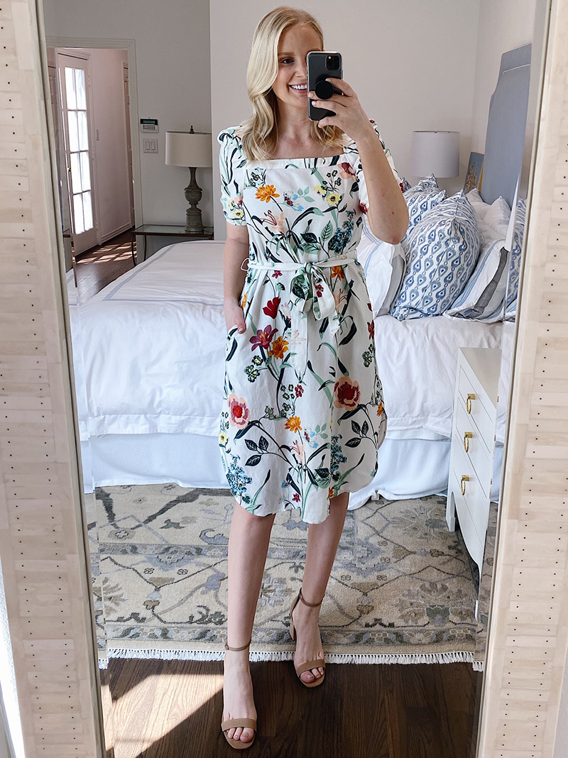 SPRING TRY-ON #2 // LOFT FLORAL PUFF SLEEVE DRESS