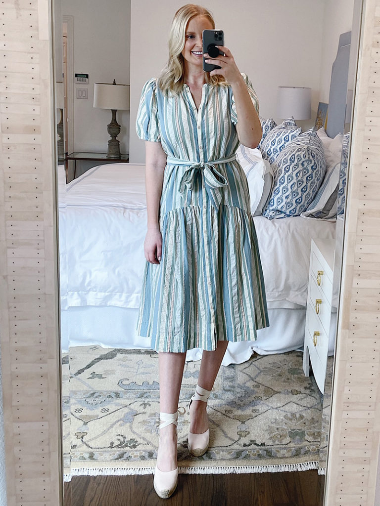 SPRING TRY-ON #2 // LOFT BEACH PUFF SLEEVE STRIPED DRESS