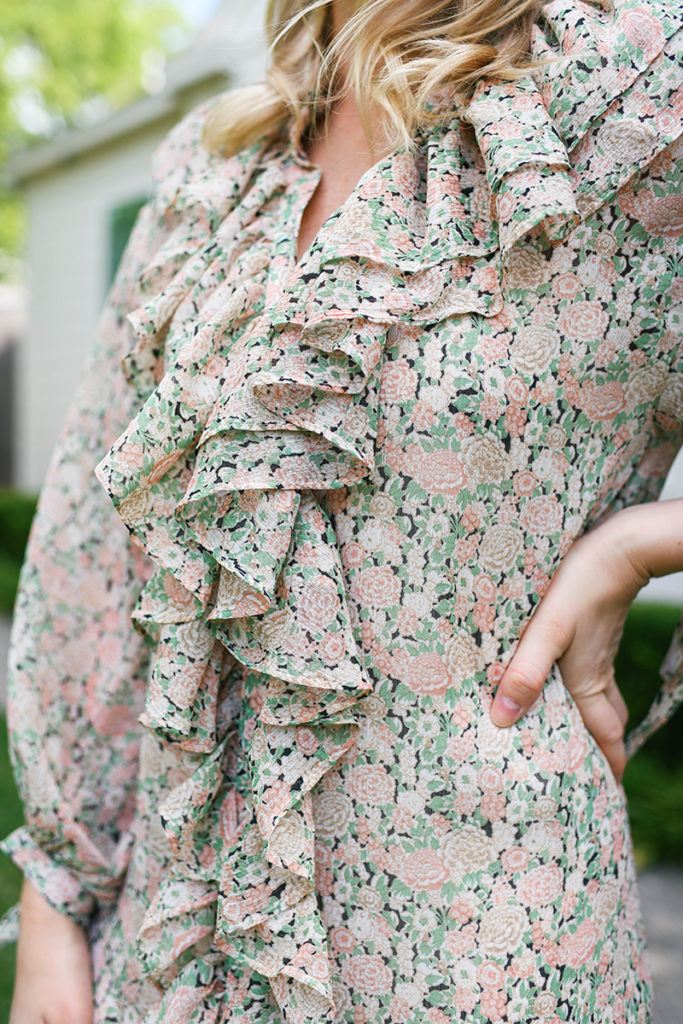 MANGO FLORAL RUFFLED MAXI DRESS