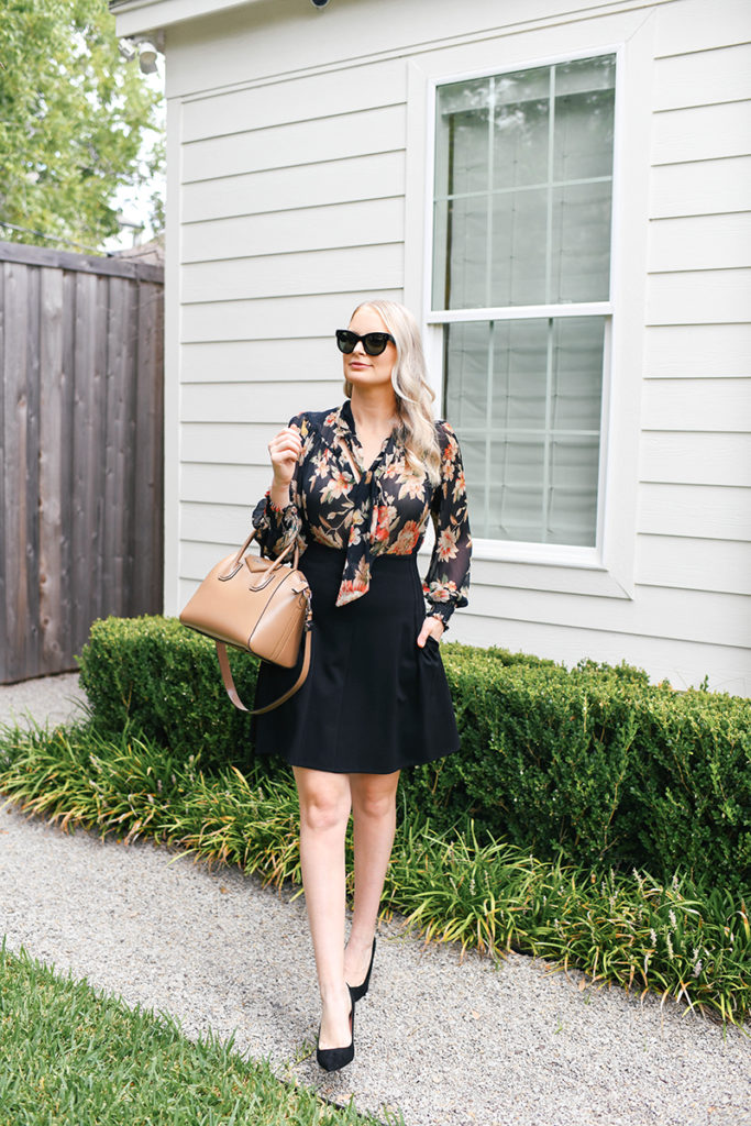 FALL FLORAL BLOUSE STYLED FOR WORK AND WEEKEND