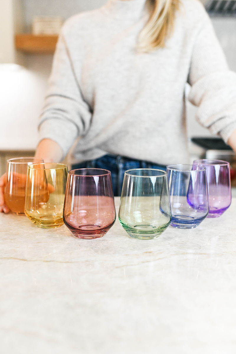 ESTELLE COLORED GLASS STEMLESS WINE GLASSES