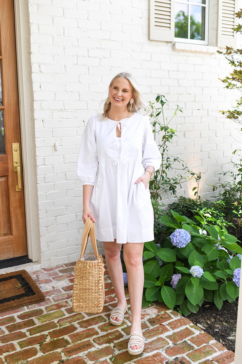 TIE FRONT WHITE POPLIN DRESS BY LAKE PAJAMAS