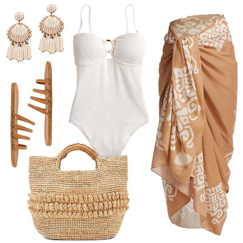 WHITE SWIMSUIT WITH TAN SARONG // NEUTRAL BEACH STYLE